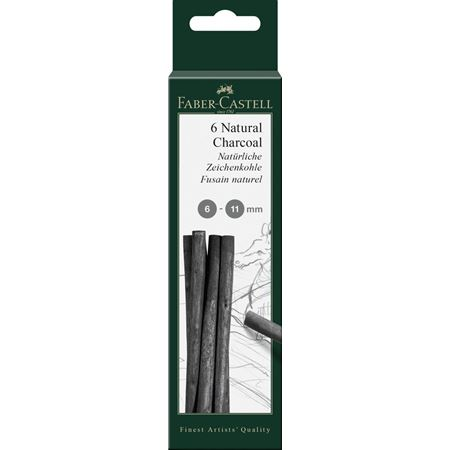 Faber-Castell - Pitt natural charcoal stick, 6-11 mm