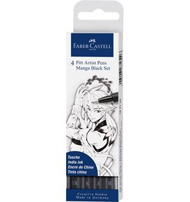 Faber-Castell - Pitt Artist Pen India in pen, wallet of 4, Manga Black set