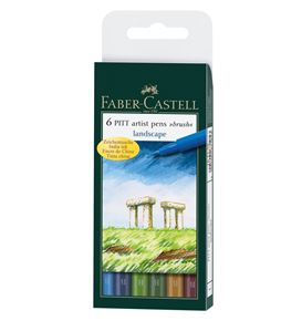Faber-Castell - Pitt Artist Pen Brush India ink pen, wallet of 6, Landscape