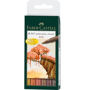 Faber-Castell - Pitt Artist Pen Brush India ink pen, wallet of 6, Terra