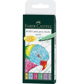 Faber-Castell - Pitt Artist Pen Brush India ink pen, wallet of 6, Pastel