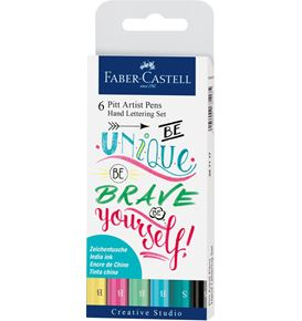Faber-Castell - Pitt Artist Pen India ink pen, set of 6 Lettering, Pastel