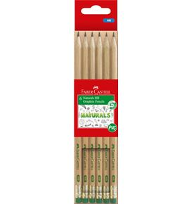 Faber-Castell - Naturals Graphite Pencils HB Pack of 6