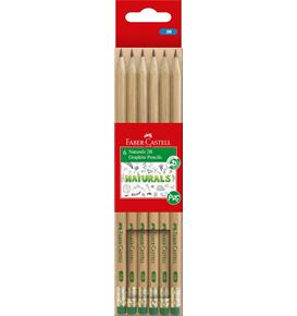 Faber-Castell - Naturals Graphite Pencils 2B Pack of 6