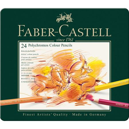Faber-Castell - Polychromos colour pencil, tin of 24