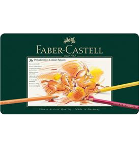 Faber-Castell - Polychromos colour pencil, tin of 36